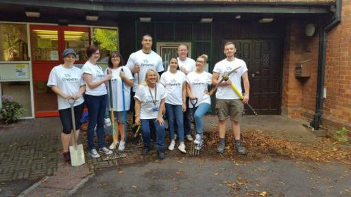 Cov Building Society with garden tools