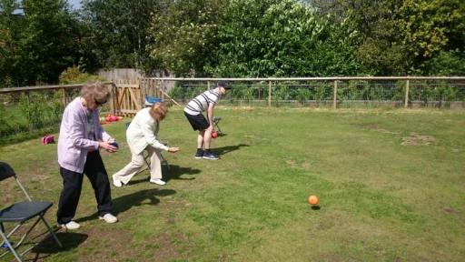 three service users bowling