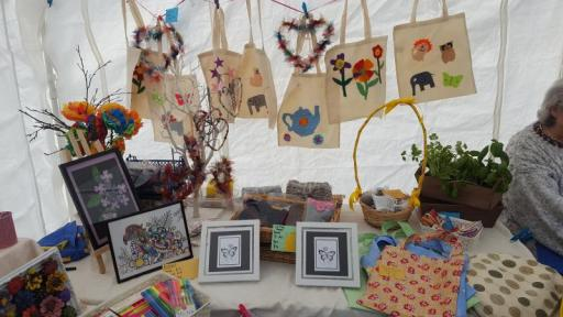 Hand crafted bags, cards and pictures on CRCB Craft Group stall
