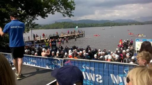 Swimmers ready to swim in Lake Windermere